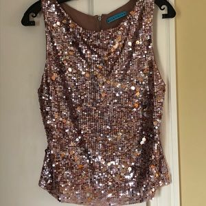 Alice + Olivia elegant party sequins & silk top